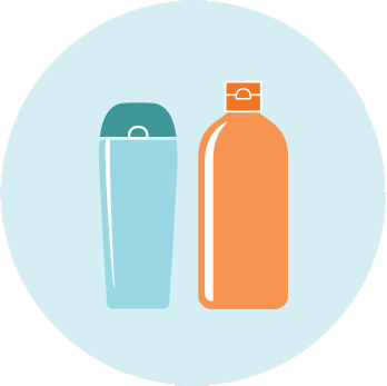 Icon of shampoo and conditioner bottles