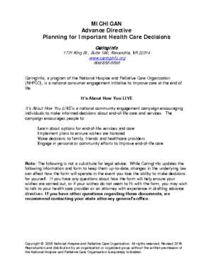 Michigan Advance Directive Planning for Healthcare Decisions