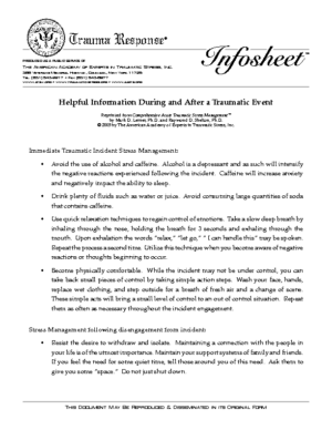 DOWNLOAD: Helpful Information During and After a Traumatic Event
