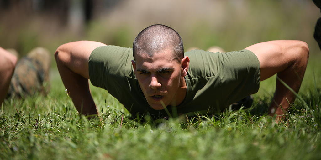 Marine recruit doing push ups