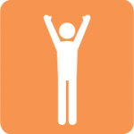 Icon of person with arms raised