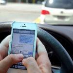Driver sending a text message